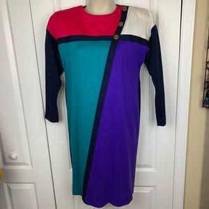 Vintage Leslie Fay 1980s Color Block Dress